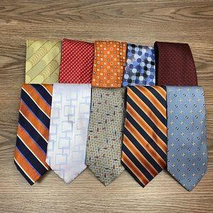 Lot of 10 Designer High End Silk Ties